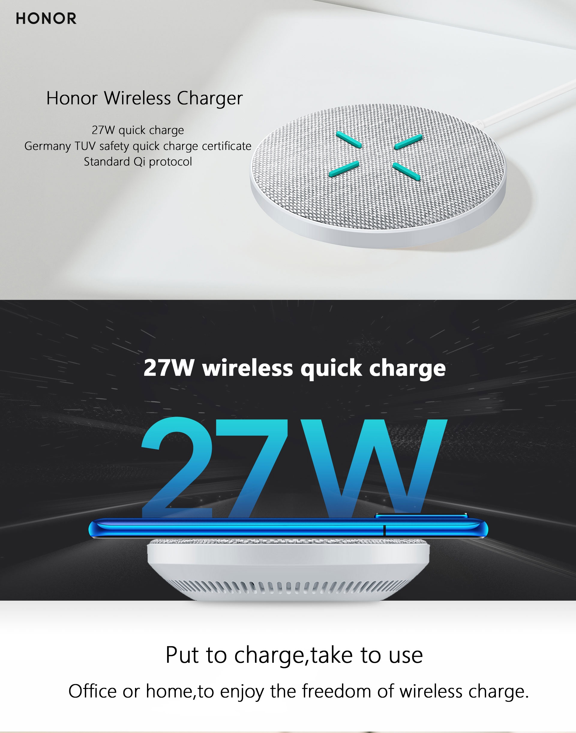 Huawei Honor AP61 SuperCharge Fast Wireless Charger - 27W Pakistan