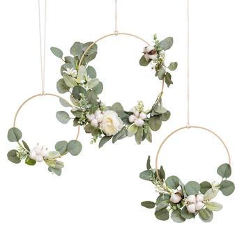 Eucalyptus Garland Greenery Wedding Wreaths Set of 3, Floral Hoop Wreath Set Rustic Wedding Backdrop Decor Flower Garland, Woodl