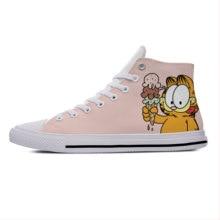 Кот Гарфилд аниме со смешными героями из мультфильмов милые модные повседневные тканевые туфли; Теплые ботинки с высокими берцами; Легкие и...