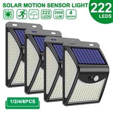 222 LED Solar Light Outdoor  4 Modes Motion Sensor PIR Wall Light Waterproof Solar Lamp Solar Powered Sunlight Garden Decoration