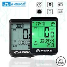 INBIKE Водонепроницаемый велосипедный компьютер беспроводной и проводной MTB светодиодный цифровой датчик скорости велосипед одометр секундомер Спидометр Часы