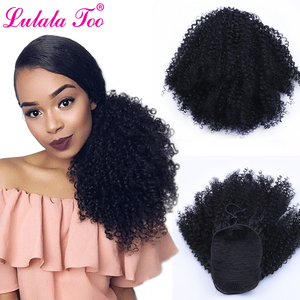 Image 1 - Drawstring Afro Puff Kinky Curly Ponytail Wig Synthetic Hair Bun and Bang Set  For Women Pony Tail Clip in Hair Extension