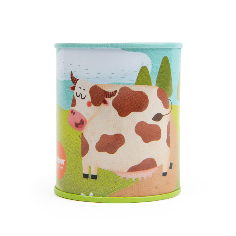 Classic Animal Sound Noise Maker Cow Print Tins Party Set Bundle Simulation Sound Toy Kids Girl Boy Birthday Gift For Children
