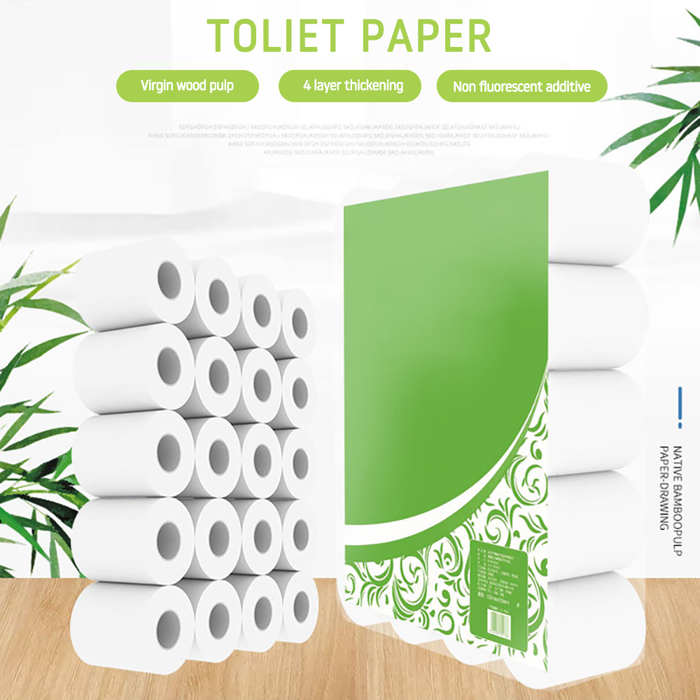 20 Rolls Home Bath Soft Paper Bath Toilet Roll Paper White Toilet Paper Toilet Roll Tissue Roll 4Ply Paper Towels Tissue