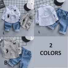 Autumn Hot Sale Children Baby Boys Cute Casual Long Sleeve Striped Cat Print Shirt Blouse Tops+Denim Pants Trouser Set 2019