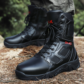 New Men's Military Tactical Boots Waterproof Outdoor Hiking Shoes High-cut Climbing Mountain Boots Genuine Leather Hiking Boots