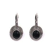 Gotas de viento étnicas exquisito tótem negro pendientes de piedras cristal mujer vacaciones campo Vintage joyería envío gratis