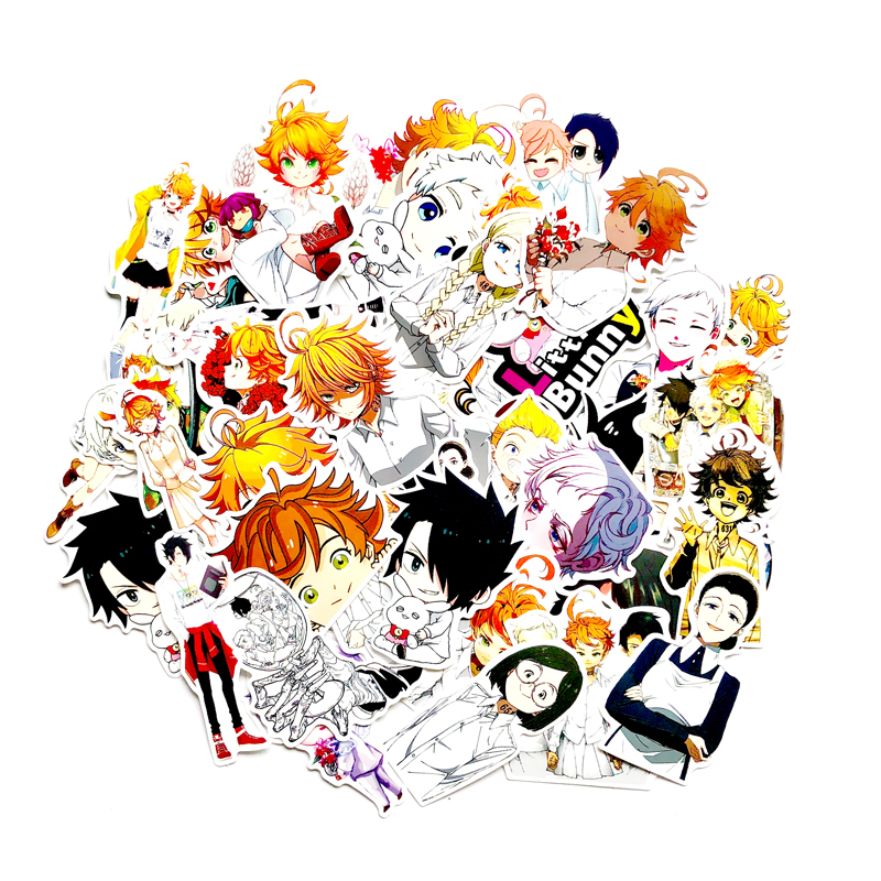 48pcs/pack Japan Anime The Promised Neverland Graffiti Cartoon Stickers For Luggage Laptop Skateboard Bicycle Decal Pegatina