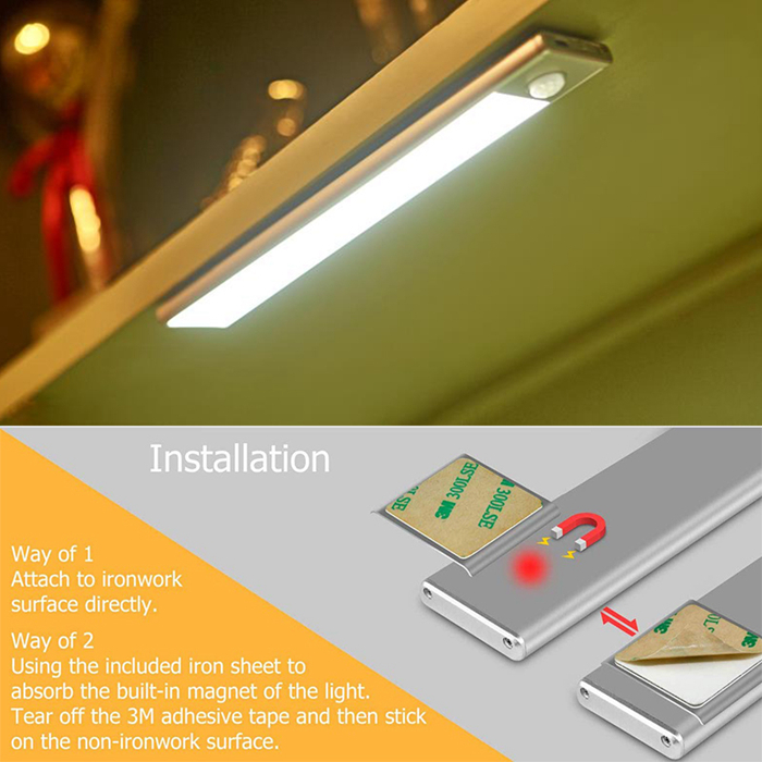 40cm sensor de movimento luz noturna 70