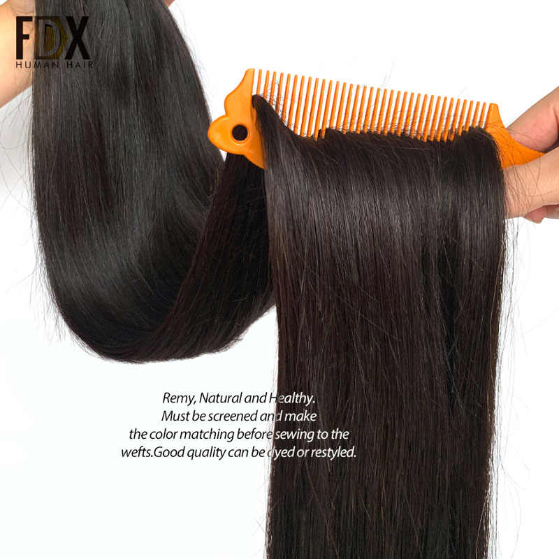 FDX 30 32 34 36 38 40 inç ipeksi düz brezilyalı saç örgü demetleri 100% Remy İnsan saç paketler 1/3/4 adet doğal renk