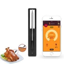 Bezprzewodowy cyfrowy inteligentny Bluetooth sonda mięso termometr do żywności dla kuchni piekarnik Grill Grill z zegarem Alarm Grill Toos tanie tanio CN (pochodzenie) H01180A1 Piekarnik termometry Metal APP Monitoring Household Thermometers 365 Days BBQ And Meat Thermometer