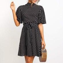 רפרוף שרוול מנוקדת שמלת נשים קיץ צווארון עומד קצר שרוול שמלה מזדמן אלגנטי משרד ליידי Slim מיני מודפס שמלות