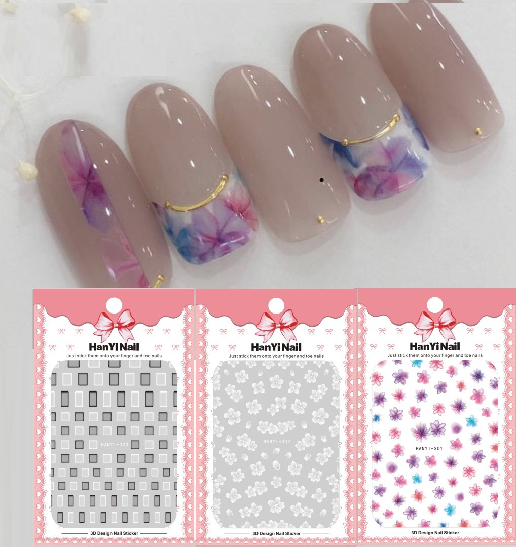 Ultra-Thin Japanese-style 3D Nail Decals Translucent Flower Nail Sticker Nail Ornament HANYI301-303