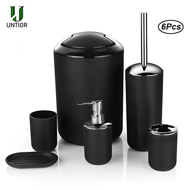 UNTIOR 6 Pcs Plastic Bathroom Accessories Set Toothbrush Holder Toothbrush Cup Soap Dispenser Soap Dish Toilet Brush Trash Can