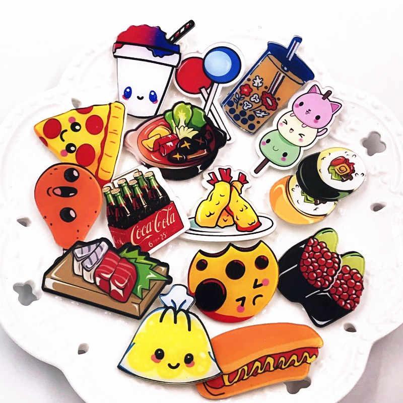 1 Pcs Kualitas Bagus Makanan Minuman Akrilik Ikon Bros Hot Pot Kartun Minyak Lukisan Kreatif Lencana untuk Anak-anak hadiah Ulang Tahun