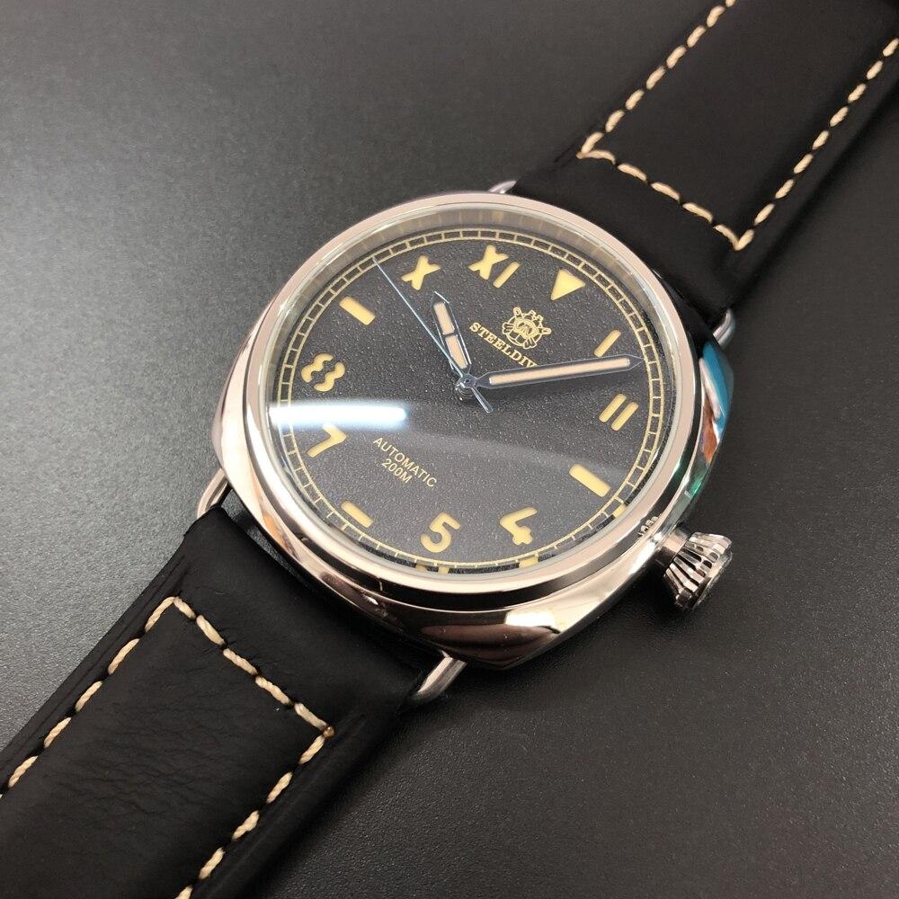 STEELDIVE 1936 Unique Californian Dive Watch 200m Sapphire Crystal Automatic Watches Men Self  Wind 42mm Polish Steel Watch Man