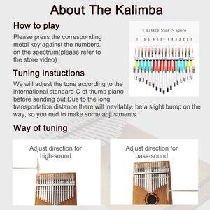 Image 5 - Aiersi Chắc Chắn Koa 17 Phím Tắc Kè Kalimba Ngón Tay Cái Đàn Piano Calimba Âm Nhạc Tặng Với Bài Hát Sách Hướng Dẫn Chỉnh Búa Và Túi