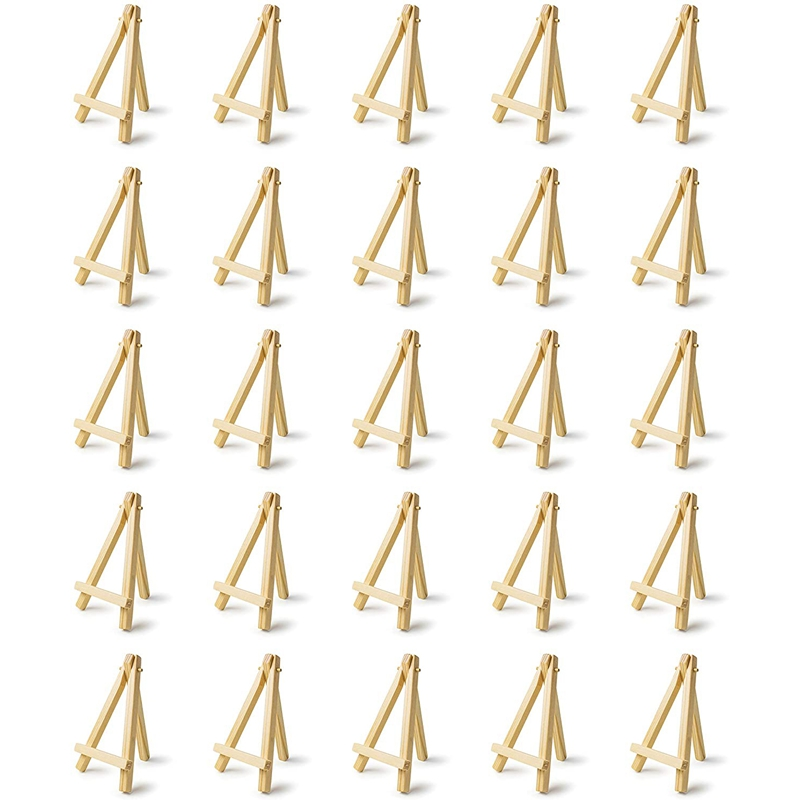 25 Pieces of Mini 5 Inch Wooden Easel. Business Cards, Display Photos, Small Canvases, Classroom DIY Arts and Crafts