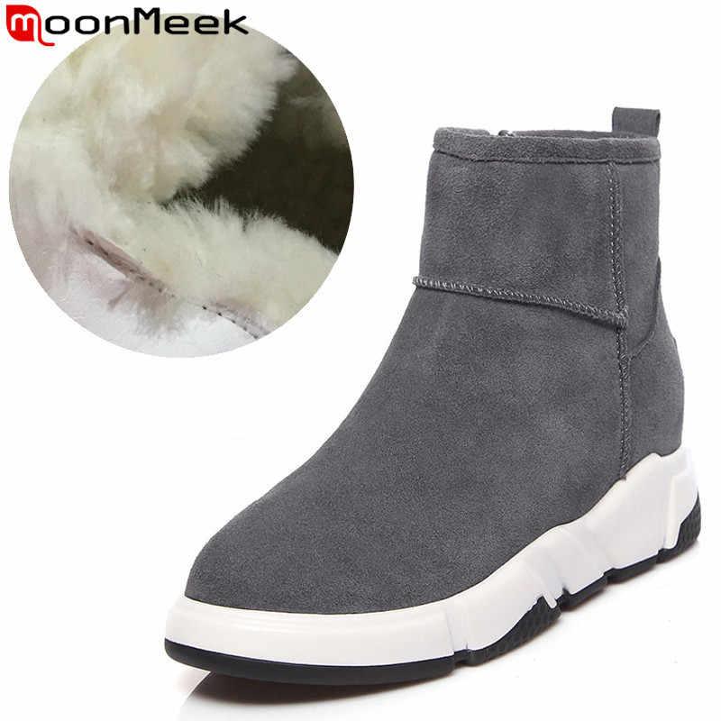 MoonMeek boyutu 34-40 moda kışlık botlar kadın yuvarlak ayak zip süet deri çizmeler düz platformu sıcak tutmak koyun yün kar botları