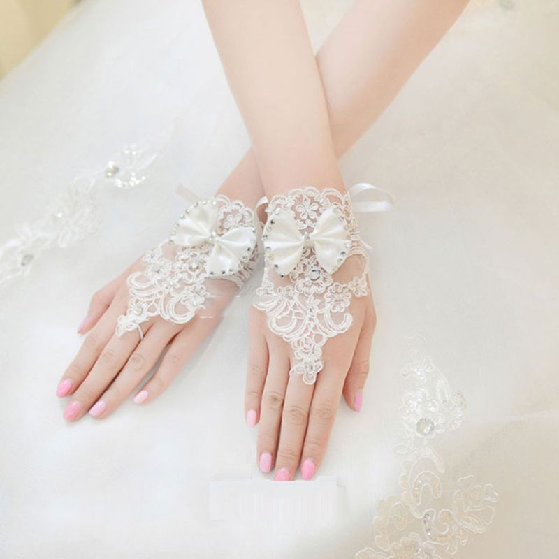 Summer Wedding Dress Gloves Lace Bow Short Lace-up Tie Glove Fingerless Bride Bridal Clothing Accessories