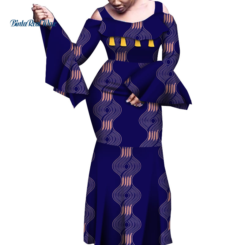 African Dresses For Women Print Flare Long Sleeve Dresses Vestidos Bazin Riche African Wedding Party Sexy Ankara Dresses WY6843
