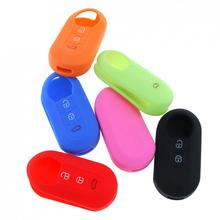 6 Colors 3 Buttons Silicone Flip Folding Key Cover for For-Fiat 500 New Listing