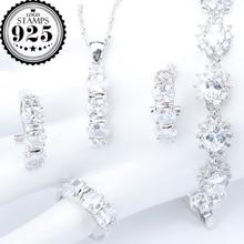 Biały cyrkon srebro 925 kostium biżuteria dla nowożeńców zestawy naszyjnik bransoletki kolczyki pierścionki dla zestaw damski pudełko na biżuterię