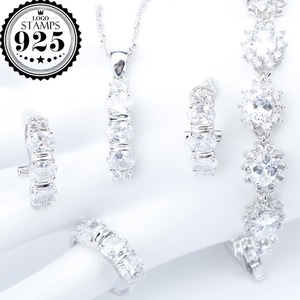 Image 1 - White Zirconia Silver 925 Costume Bridal Jewelry Sets Pendant Necklace Bracelets Earrings Rings For Women Set Jewellery Gift Box