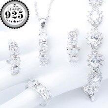 Witte Zirconia Zilver 925 Kostuum Bruids Sieraden Sets Hanger Ketting Armbanden Oorbellen Ringen Voor Vrouwen Set Sieraden Gift Box