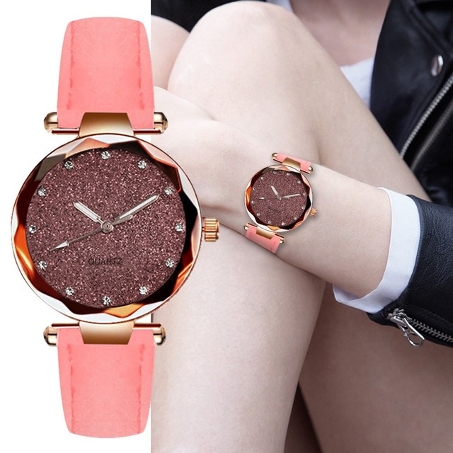 Cheap Starry Sky Watches Women Fashion Rose Gold Female Belt Bracelet Leather Quartz Wristwatches Clock Relogio Feminino 11.20