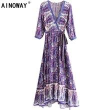 Robe pour femme, Vintage chic, imprimé Floral, style bohème, maxi, col en V, avec ceinture en rayonne, vêtement pour plage