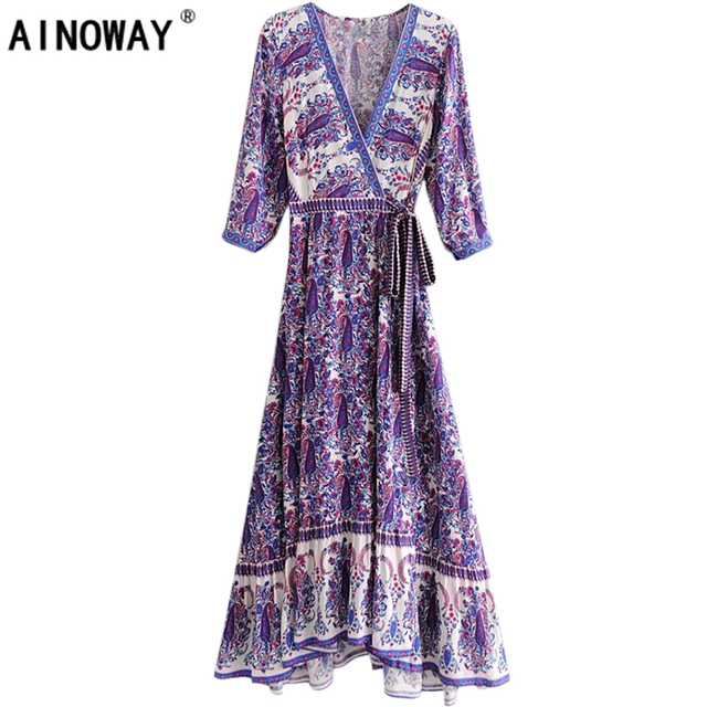 Vintage chic women Floral print beach Bohemian maxi dress Ladies cross V neck sashes rayon happie Boho  dress vestidos