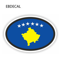 EBdecal Kosovo Flag Oval Helmet Creative For Auto Car/Bumper/Window/Wall Decal Sticker Decals DIY Decor CT11838(China)