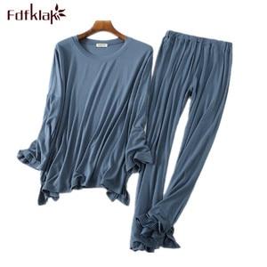 Image 1 - Comfortable modal cotton pyjamas women long sleeve pajamas set autumn winter home clothes casual long pant sleep pyjama femme