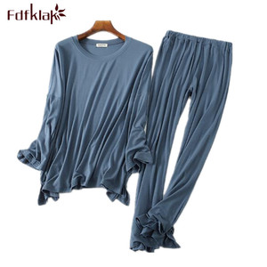 Image 1 - Pyjama à manches longues, confortable, pantalon en coton pour femme, ensemble vêtements de maison automne hiver, collection décontracté