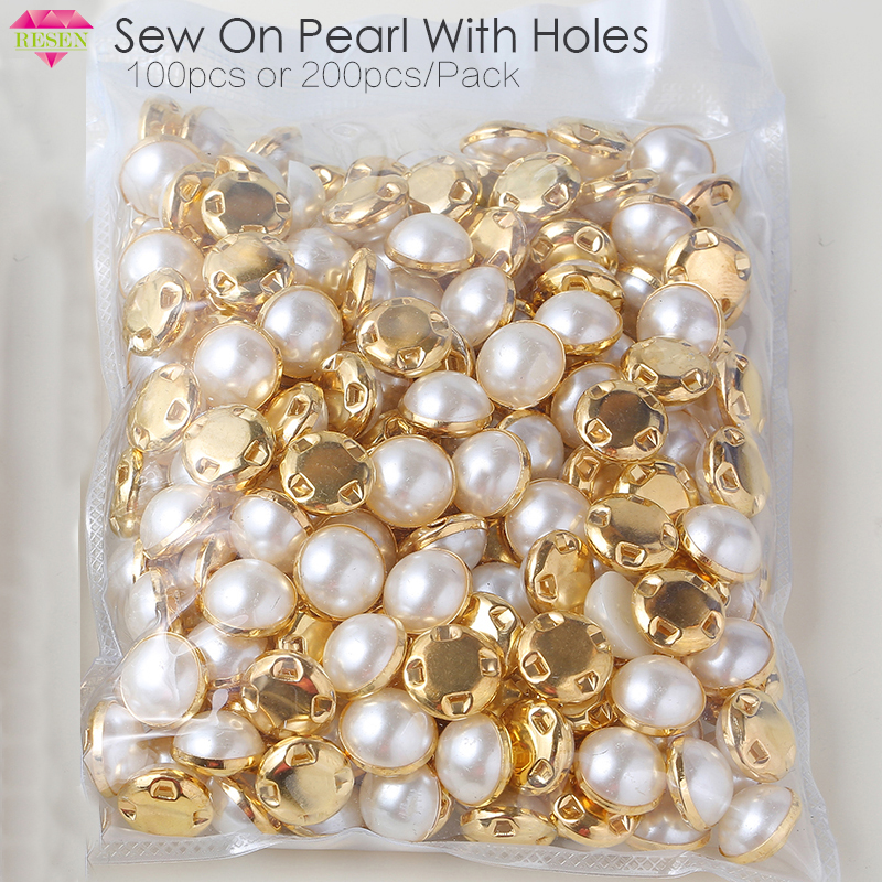 RESEN 6mm 8mm,10mm,12mm Sew On Pearls For Dresses With Claw Gold/Sliver Claw Rhinestones Round Pearl Button Sew On Stones