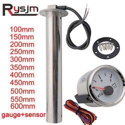 Sewage Level Sensor + 52mm HTG Gauge Water Sender Unit Sewage Meter Sensor For Auto Car Marine Boat RV 0-190 ohm 100mm ~ 600mm