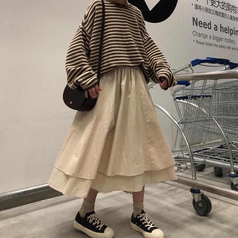 2 Colors High Elastic Waist Long Skirts Woman 2019 Autumn Solid Color Irregular A-line Skirts Womens (X224)