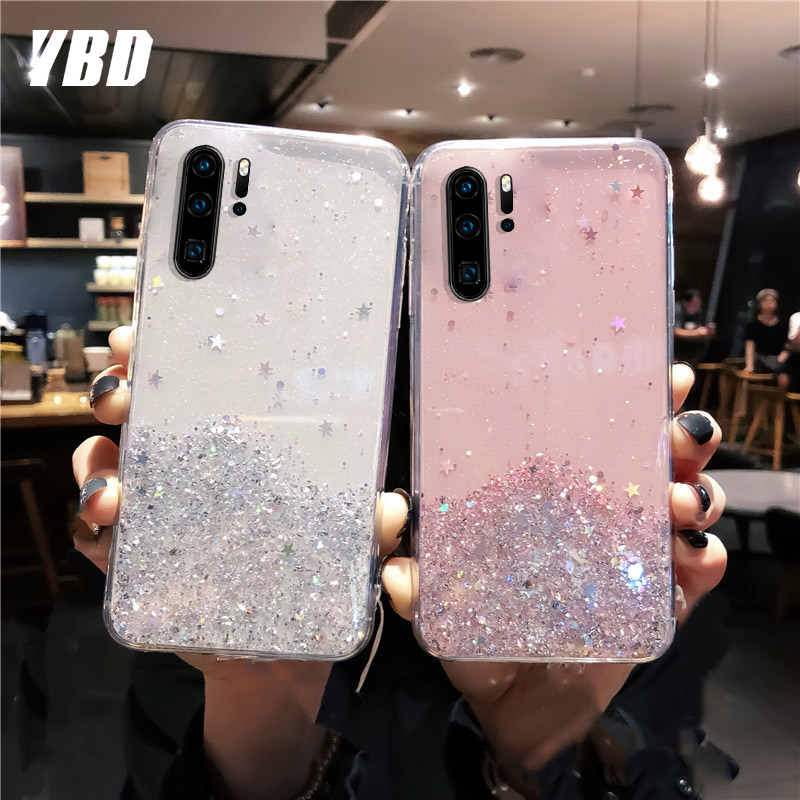 YBD Soft Glitter Starry Phone Case for Samsung Galaxy Note 10 10 pro s9 s8 plus note 8 9 s10 plus A50 A70 A40 Case Cover Fundas image