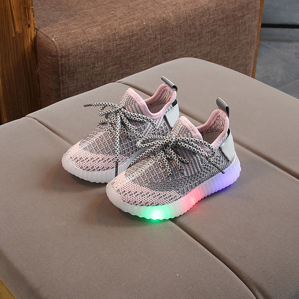 Baby Fashion LED Lighting Sneakers Mesh Breathable Children Lace Up Luminous Sports Shoes Boys  Girls Non Slip Sneakers