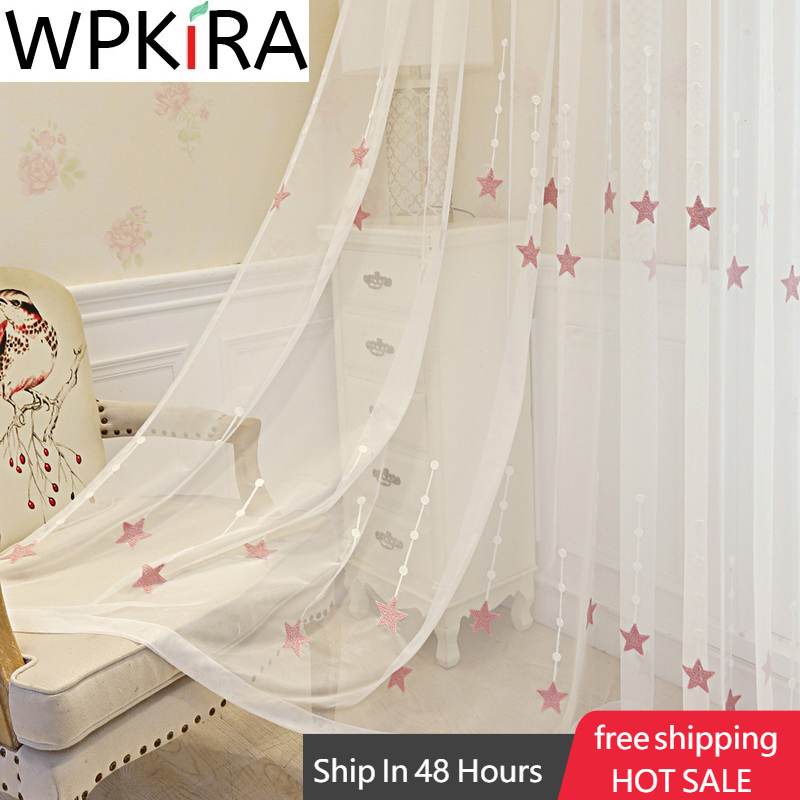 Pink Embroidered Star Voile Curtain For Kid Girls Bedroom Sheer Curtain For Living room Kitchen Window Drapes Korean Tulle P3093