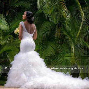 Image 3 - African Style Sequin Beading Mermaid Plus Size Wedding Dress for Black Girl Ruffles Tulle Bridal Gown
