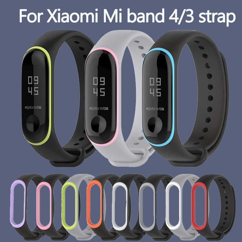 ソフトため xiaomi mi バンド 3 4 スポーツストラップ腕時計シリコンストラップため xiaomi mi バンド 3 4 ブレスレット mi バンド 4 3 ストラップ
