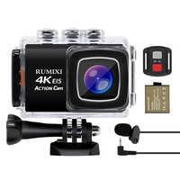 4K Sport Action kamera mit EIS Funktion 170D WiFi Wasserdicht 30M Mit Fernbedienung Externe Mic Video Aufnahme kameras