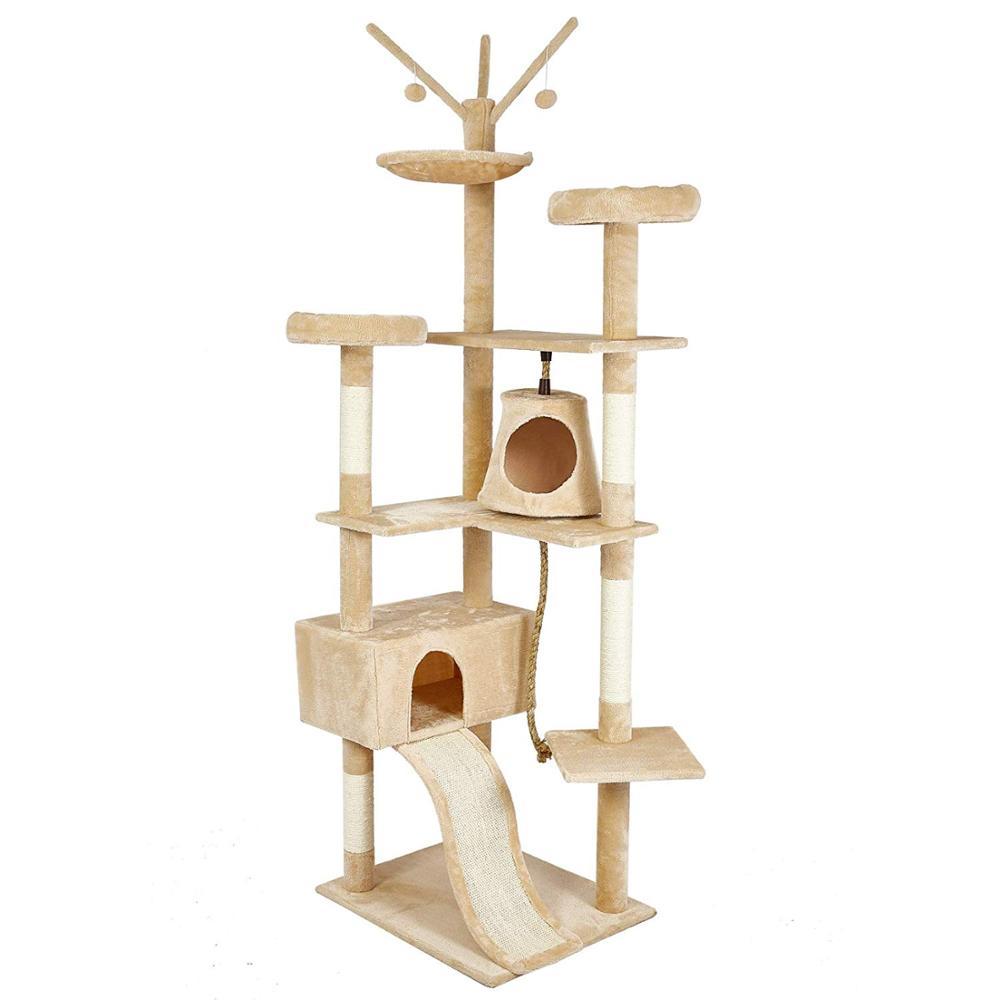 Gato poste para rascar s sisal Big Cat Tree Tower mueble de condominio poste para rascar juguete saltarín con escalera para gatitos Pet House Play C05