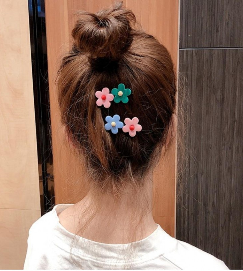 Купить с кэшбэком 2019 New 1PC Sweet Candy Color Girls Hairpins two Small Flowers Duckbill Plastic Hair Clip Clamp Barrettes Hair Accessories