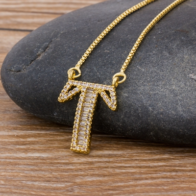 Luxury Gold Color A-Z 26 Letters Necklace CZ Pendant for Women Cute  Initials Name Necklace Fashion Party Wedding Jewelry Gift 7
