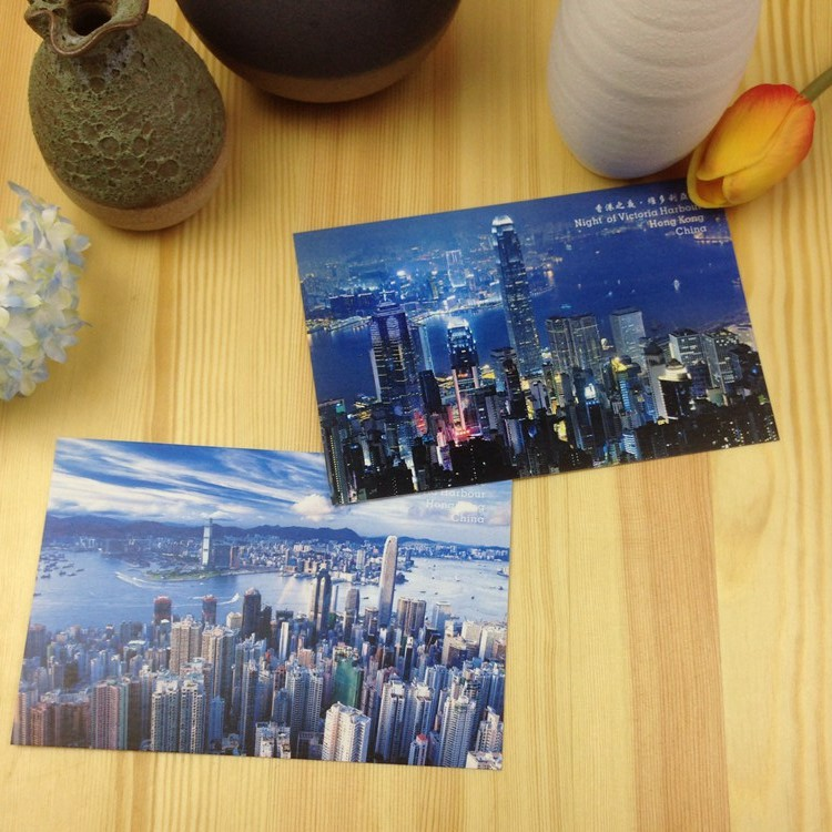 Hong Kong Financial Center Of The City Scenery Postcard Collection  Art Lenticular Recycled Recordable 15*10cm 15pcs