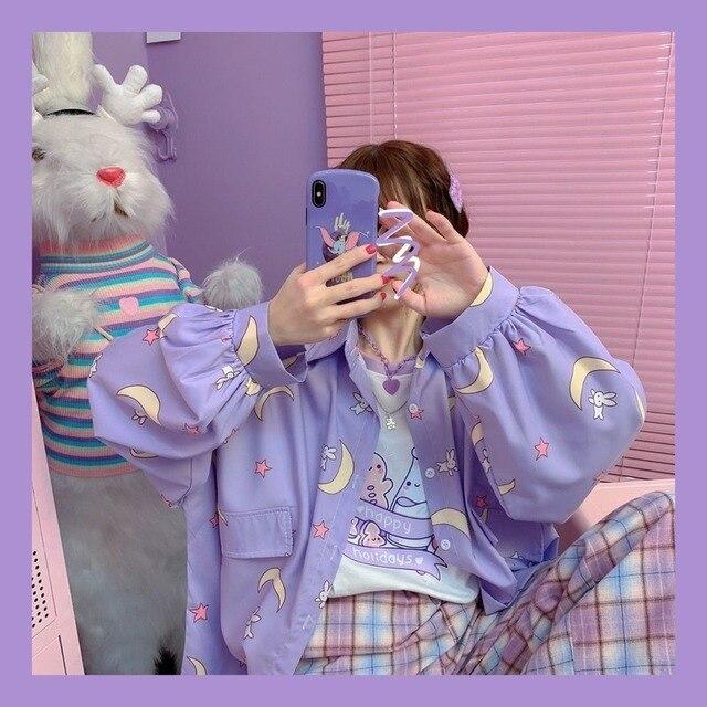 Korean Style Women Shirts Kawaii Autumn Fashion JK Uniform Blouses Women Long Sleeve Cute Loose Button Up Shirt Oversized Tops 4