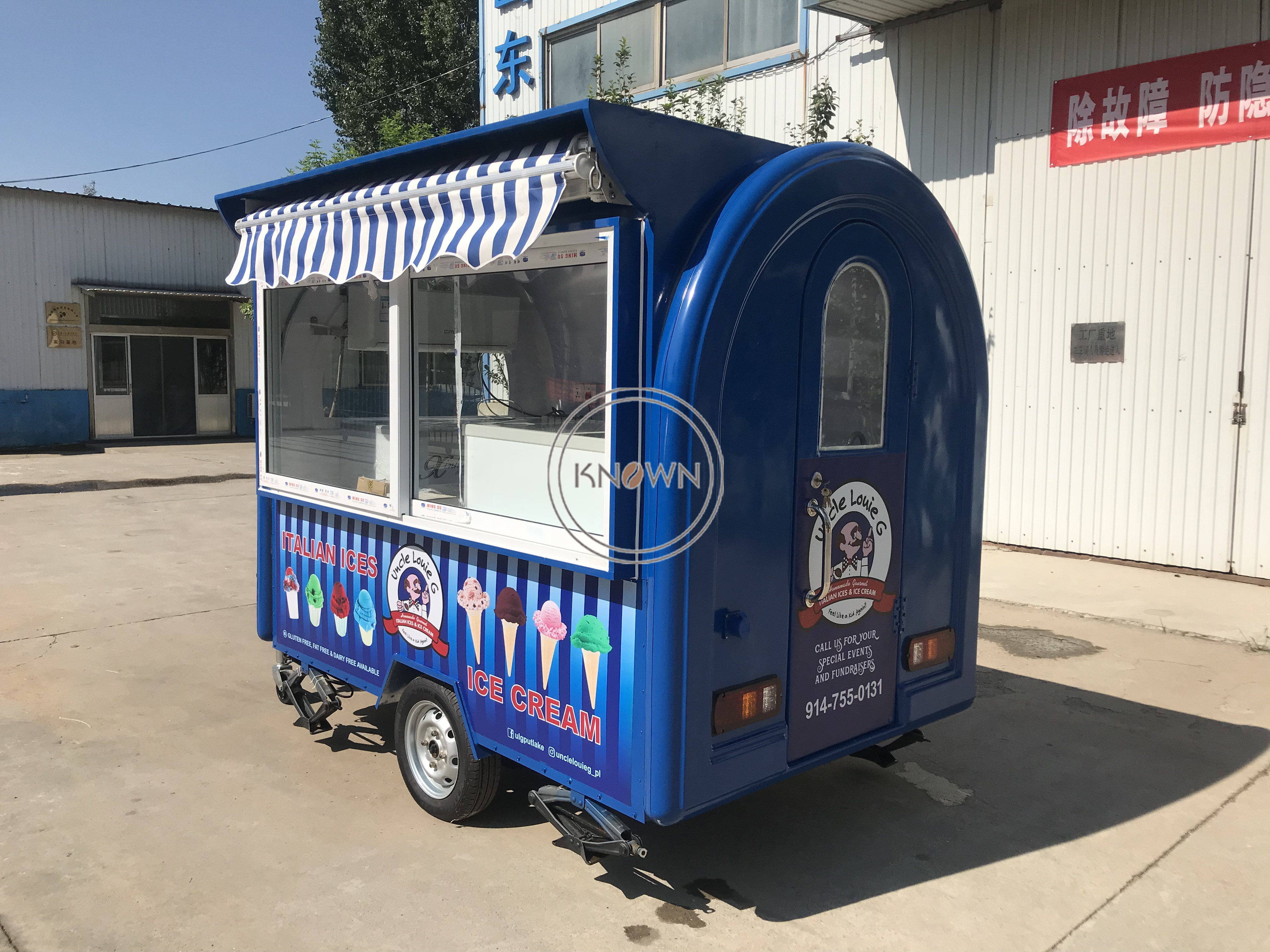 Can Customized 250cm Long Food Trailer Ice Cream Mobile Food Cart  Food Van Trailer For Sale